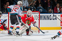KELOWNA, CANADA - JANUARY 21: Tomas Soustal #15 of the Kelowna Rockets stands in front of the net look for the pass on Cole Kehler #31 of the Portland Winterhawks on January 21, 2017 at Prospera Place in Kelowna, British Columbia, Canada.  (Photo by Marissa Baecker/Shoot the Breeze)  *** Local Caption ***