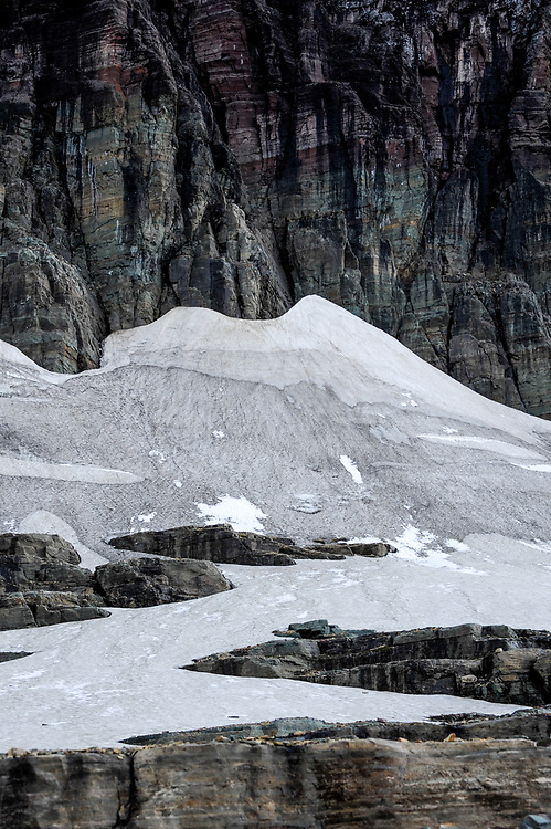 A snowfield at the base of Mount Clements at Logan Pass, Glacier National Park, Montana, Tuesday, October 7, 2014. According to Dan Fagre Ph.D. of the USGS this is the location of a glacier from the little ice age that ended in 1850 and probably disappeared in the 1940's.