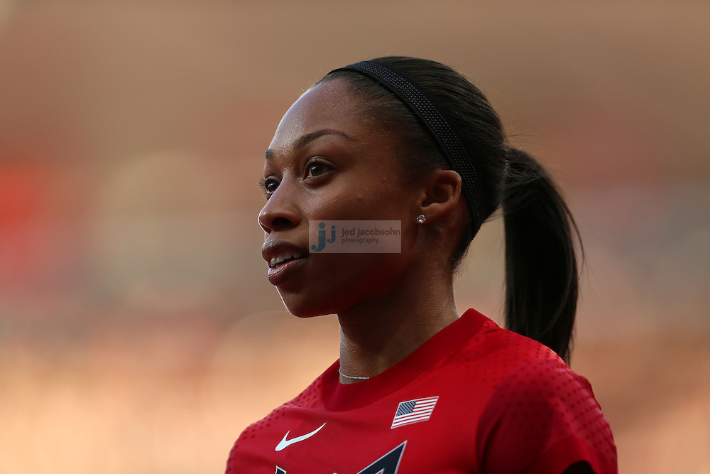 Allyson Felix of the USA looks on after a 100m heat during track and field at the Olympic Stadium during day 6 of the London Olympic Games in London, England, United Kingdom on August 3, 2012..(Jed Jacobsohn/for The New York Times)..