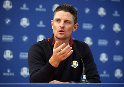 Team Europe's Justin Rose during a press conference on preview day three of the Ryder Cup at Le Golf National, Saint-Quentin-en-Yvelines, Paris. PRESS ASSOCIATION Photo. Picture date: Wednesday September 26, 2018. See PA story GOLF Ryder. Photo credit should read: Adam Davy/PA Wire. RESTRICTIONS: Editorial use only. No commercial use.