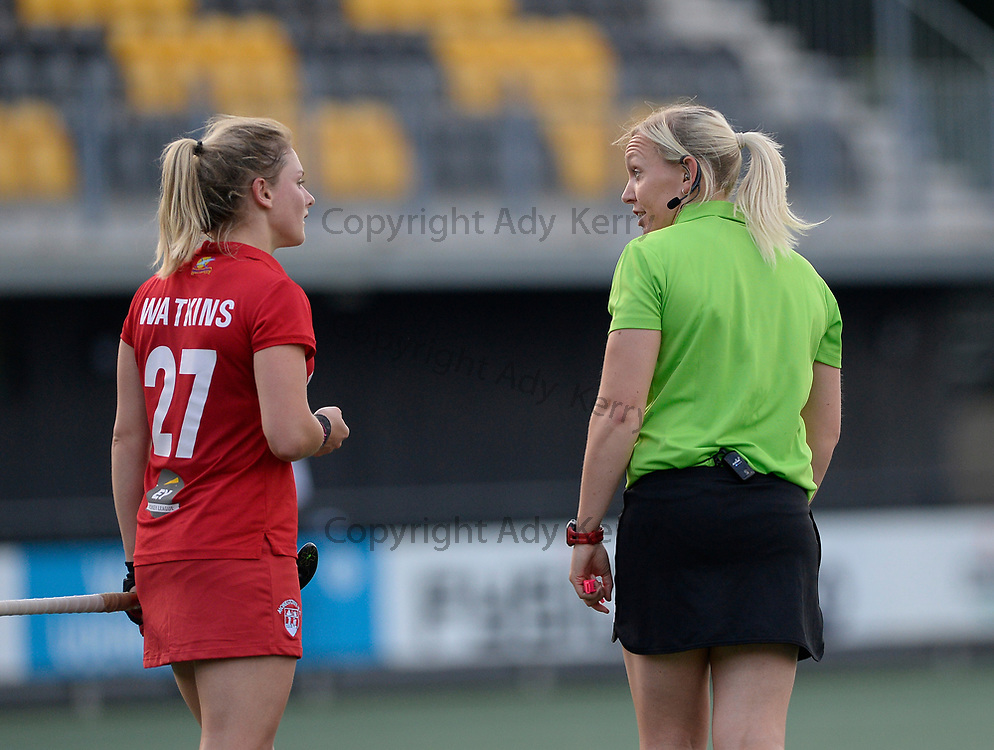 Sarah Wilson talks to Monkstown's Chloe Watkins during their opening game of the EHCC 2017 at Den Bosch HC, The Netherlands, 2nd June 2017