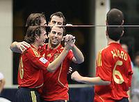Fussball  International  FIFA  FUTSAL WM 2008   01.10.2008 Vorrunde Gruppe D Spain - Iran Spanien- Iran BORJA (ESP); TORRAS (ESP) und ALVARO (ESP, von links) jubeln ueber Torras' 3.3.