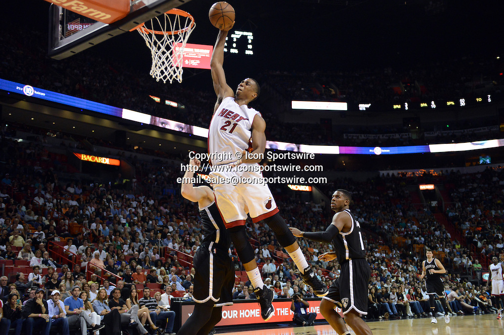 Jan. 4, 2015 - Miami, FL, USA - Miami Heat's Hassan Whiteside dunks during the first half on Sunday, Jan. 4, 2015, at AmericanAirlines Arena in Miami