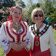 Christine Hamilton is the Mayor of Enfield attend the 7th annual Folk Festival! with food and drinks music and dancing on 5 May 2018 at Forty Hill, Enfield, London, UK.