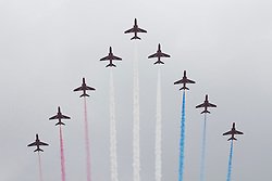 © Licensed to London News Pictures. 05/06/2012. London, UK. The Royal Jubilee celebrations. The RAF flyover goes past the Mall as Great Britain is celebrating the 60th anniversary of the countries Monarch HRH Queen Elizabeth II accession to the throne this weekend. Photo credit : Tolga Akmen/LNP