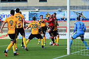 Kevin Ellison of Morecambe mano the match with two goals battles for the ball at a corner during the EFL Sky Bet League 2 match between Morecambe and Newport County at the Globe Arena, Morecambe, England on 16 September 2017. Photo by Mick Haynes.