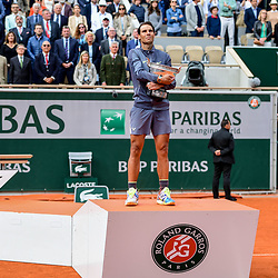 Rafael Nadal (SPA) celebrates his victory with the trophy during the men Final of Roland Garros on June 9, 2019 in Paris, France. (Photo by Anthony Dibon/Icon Sport)