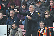 Manchester United manager Jose Mourinho directing his players during the Premier League match between Bournemouth and Manchester United at the Vitality Stadium, Bournemouth, England on 3 November 2018.