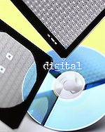 Still life of digital chip wafers and cd