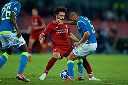 NAPLES, ITALY - Wednesday, October 3, 2018: Liverpool's Mohamed Salah (L) and Napoli's Allan Marques Loureiro during the UEFA Champions League Group C match between S.S.C. Napoli and Liverpool FC at Stadio San Paolo. (Pic by David Rawcliffe/Propaganda)