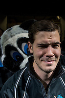 KELOWNA, CANADA - DECEMBER 2: Rocky Racoon photo bombs on December 2, 2015 at Prospera Place in Kelowna, British Columbia, Canada.  (Photo by Marissa Baecker/Shoot the Breeze)  *** Local Caption *** Rocky Racoon;