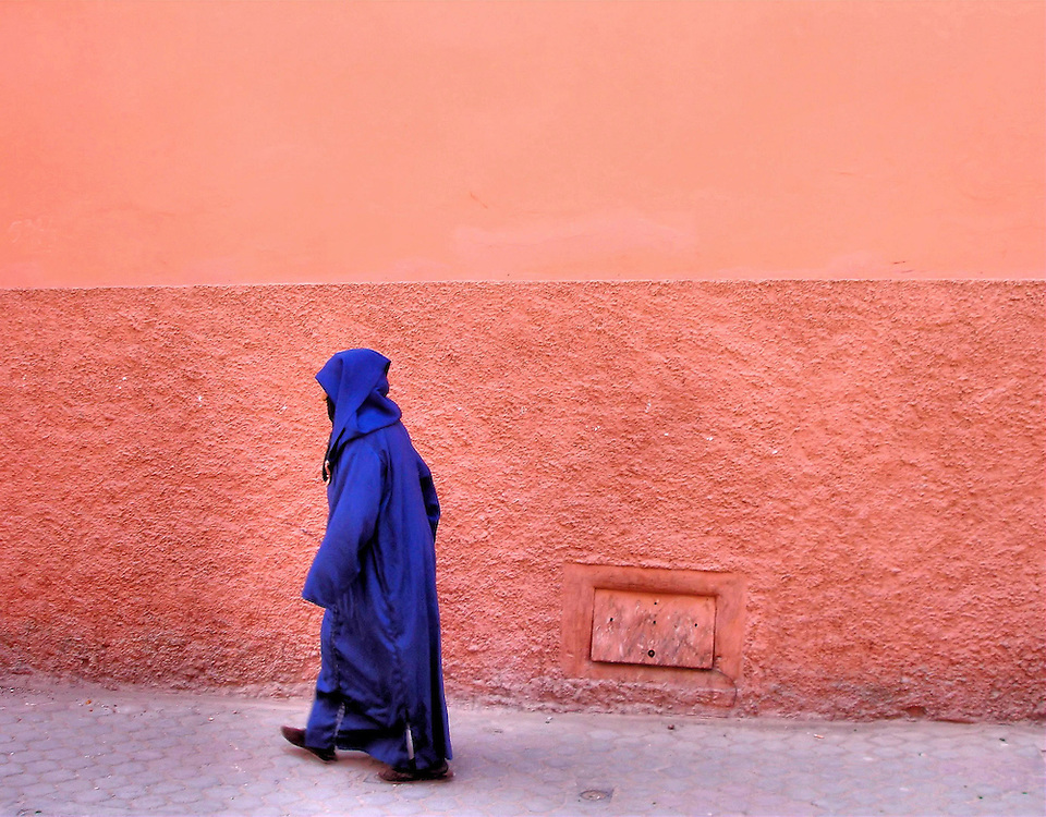 Man Wearing Purple Djellaba in Marrakech, Morocco<br />