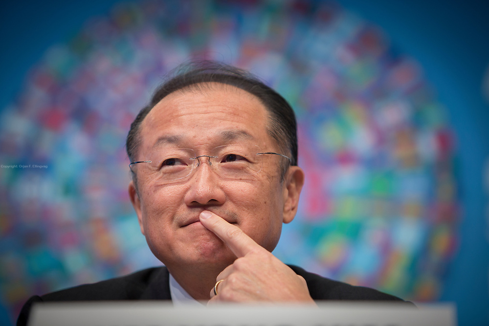 The President of the World Bank, Jim Yong Kim, at a press conference during the annual spring meeting at the IMF - International Monetary Fund.
