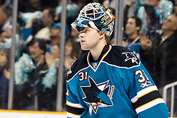 December 11, 2010; San Jose, CA, USA;  San Jose Sharks goalie Antti Niemi (31) during a time out against the Chicago Blackhawks during the first period at HP Pavilion. San Jose defeated Chicago 2-1 in overtime. Mandatory Credit: Jason O. Watson / US PRESSWIRE