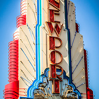 Edwards Big Newport Theatre sign picture. The Big Newport theater is located in Fashion Island in Newport Beach Orange County California.