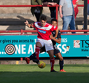 Brechin's Kalvin Orst holds off Dundee&rsquo;s Nathan Ralph - Brechin City v Dundee pre-season friendly at Glebe Park, Brechin, <br /> <br /> <br />  - &copy; David Young - www.davidyoungphoto.co.uk - email: davidyoungphoto@gmail.com