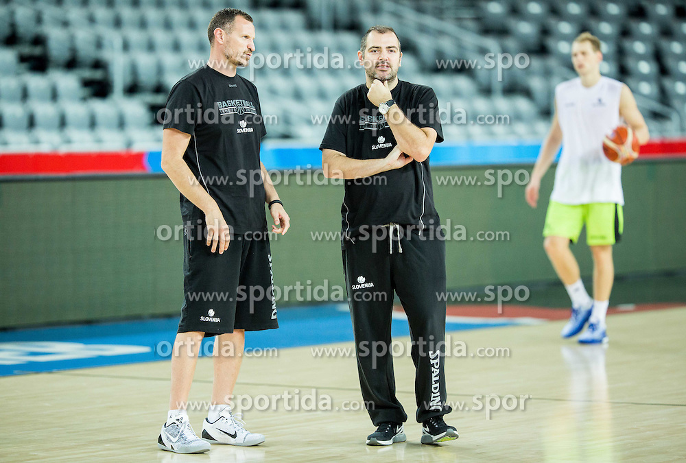 Assistant coaches Rado Trifunovic and Stefanos Dedas during practice session of Slovenia National Basketball Team 1 day prior to the FIBA Europe Eurobasket 2015, on September 4, 2015, in Arena Zagreb, Croatia. Photo by Vid Ponikvar / Sportida