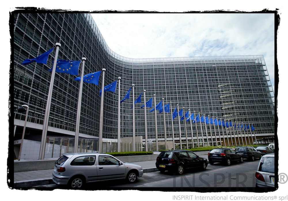 BRUSSELS - BELGIUM - 02 JUNE 2005 --EU Flags in front of the European Commission building Berlaymont.-- PHOTO: ERIK LUNTANG / INSPIRIT Photo..