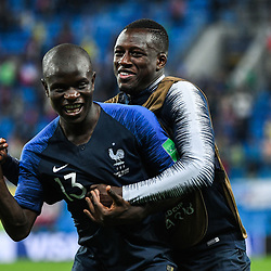 Ngolo Kante and Benjamin Mendy of France during the Semi Final FIFA World Cup match between France and Belgium at Krestovsky Stadium on July 10, 2018 in Saint Petersburg, Russia. (Photo by Anthony Dibon/Icon Sport)