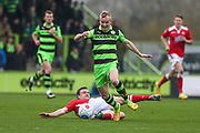 Forest Green Rovers Marcus Kelly(10) skips a challenge during the Vanarama National League match between Forest Green Rovers and Wrexham FC at the New Lawn, Forest Green, United Kingdom on 18 March 2017. Photo by Shane Healey.