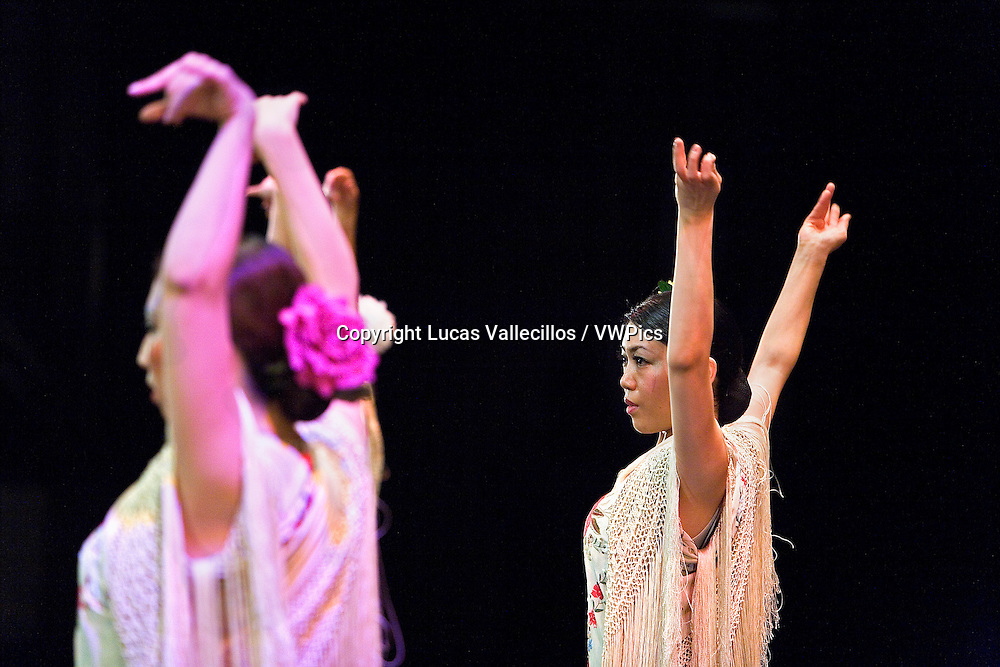 Flamenco dancers. Kayoko Nakata students dancing for the first time in a theater. In Morioka theatre.Morioka,Iwate prefecture,Japan.