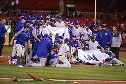 September 27, 2017 - St. Louis, MO, USA - The Chicago Cubs clinched the National League Central Division with a 5-1 win against the St. Louis Cardinals at Busch Stadium in St. Louis on Wednesday, Sept., 27, 2017. (Credit Image: © Nuccio Dinuzzo/TNS via ZUMA Wire)