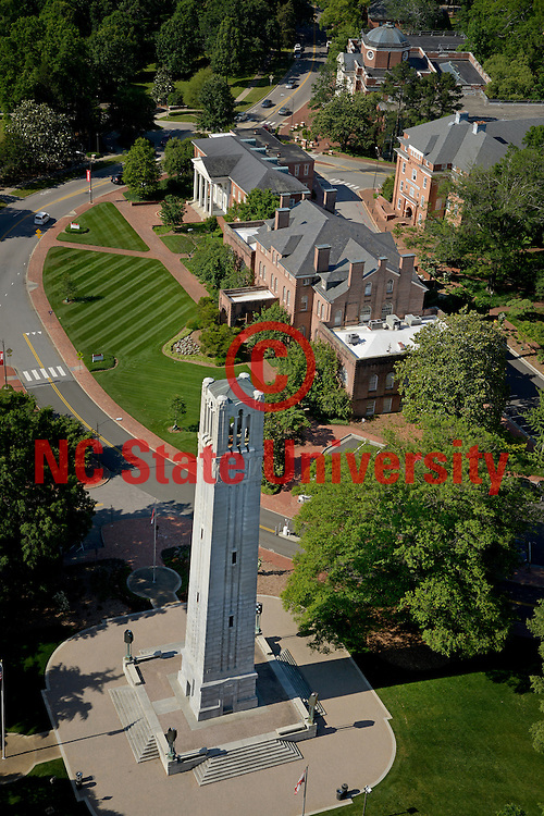 Aerial the Belltower along with Holladay Hall, Winston Hall, Watagua and Brooks.