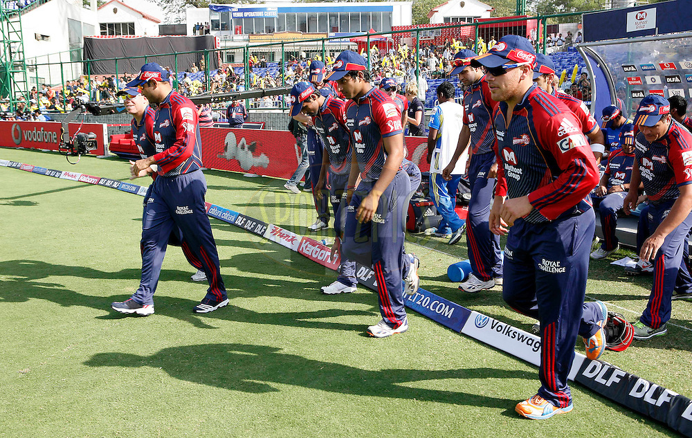 Delhi Daredevils team enters the ground during match 19 of the Indian Premier League ( IPL ) Season 4 between the Delhi Daredevils and the Deccan Chargers held at the Feroz Shah Kotla Stadium in Delhi, India on the 19th April 2011..Photo by Money Sharma/BCCI/SPORTZPICS.