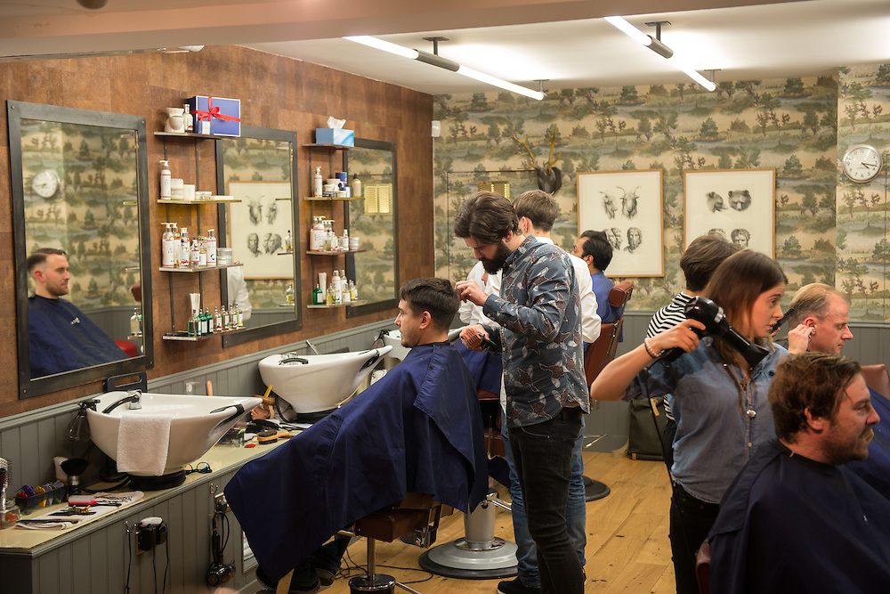 East London's trendy Shoreditch area.<br /> Photos shows Murdoch's barbers on Redchurch Street.