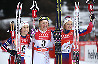 Langrenn<br /> FIS World Cup<br /> Foto: Gepa/Digitalsport<br /> NORWAY ONLY<br /> <br /> OBERSTDORF,GERMANY,05.JAN.16 - NORDIC SKIING, CROSS COUNTRY SKIING - FIS World Cup, Tour de Ski, sprint, classic, ladies. Image shows Heidi Weng (NOR), Sophie Caldwell (USA) and Ingvild Flugstad Østberg (NOR).