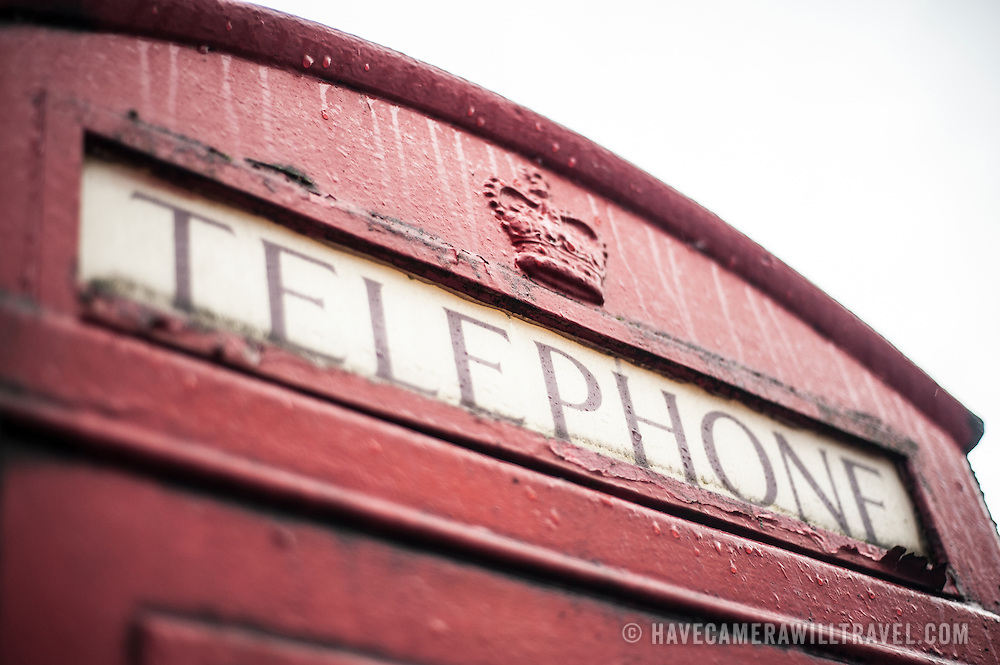 The top of an old English Red Telephone Box.