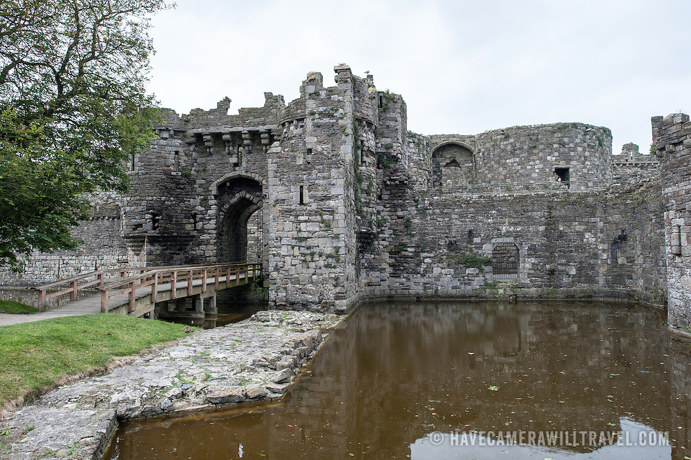 An entrance gate to Beaumaris Castle on the island of Anglesey of the north coast of Wales, UK. The castle dates back to the 13th century and is one of several commissioned by Edward I.
