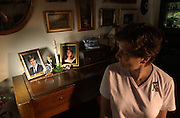 Diane Horning sits in the living room of her Scotch Plains home where  pictures of her son Matthew, who was killed in the WTC attacks, sit on the piano.  She believes the Fresh Kills Landfill should be made into a memorial.