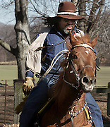 A well known black cowboy on Prospect Park's bridle path.