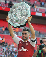 Football - 2017 Community Shield - Chelsea vs. Arsenal<br /> <br /> Arsenal's new signing and goalscorer Sead Kolasinac with the Shield at Wembley.<br /> <br /> <br /> COLORSPORT/ANDREW COWIE