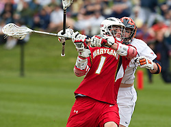 Maryland Terrapins Attack Grant Catalino (1) prepares a shot against UVA.  The #9 ranked Maryland Terrapins fell to the #1 ranked Virginia Cavaliers 10 in 7 overtimes in Men's NCAA Lacrosse at Klockner Stadium on the Grounds of the University of Virginia in Charlottesville, VA on March 28, 2009.