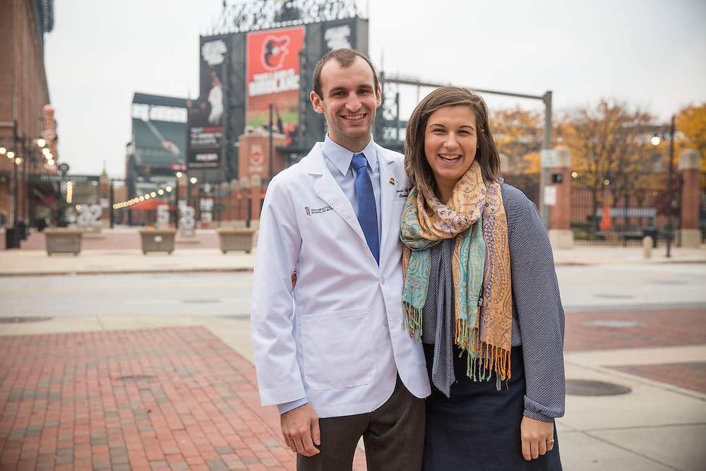November 5, 2015, Baltimore, MD:<br /> Thomas Battey and Caity Battey pose after the University of Maryland Medical School Class of 2019 White Coat Ceremony at the Hilton Hotel in Baltimore, Maryland Thursday, November 5, 2015.<br /> (Photo by Billie Weiss)