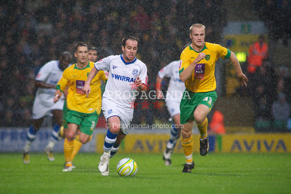 NORWICH, WALES - Saturday, November 14, 2009: Tranmere Rovers' Chris Shuker and Norwich City's Jens Berthel Askou during the League One match at Carrow Road. (Pic by David Rawcliffe/Propaganda)