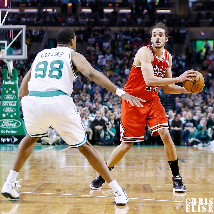 13 February 2013: Chicago Bulls center Joakim Noah (13) looks to pass the ball during the Boston Celtics 71-69 victory over the Chicago Bulls at the TD Garden, Boston, Massachusetts, USA.