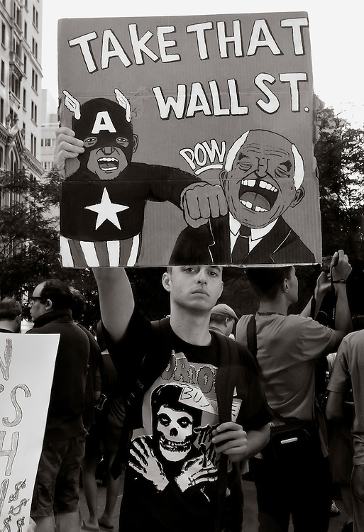 Occupy Wall Street demonstrator, October 2011 in lower Manhattan.