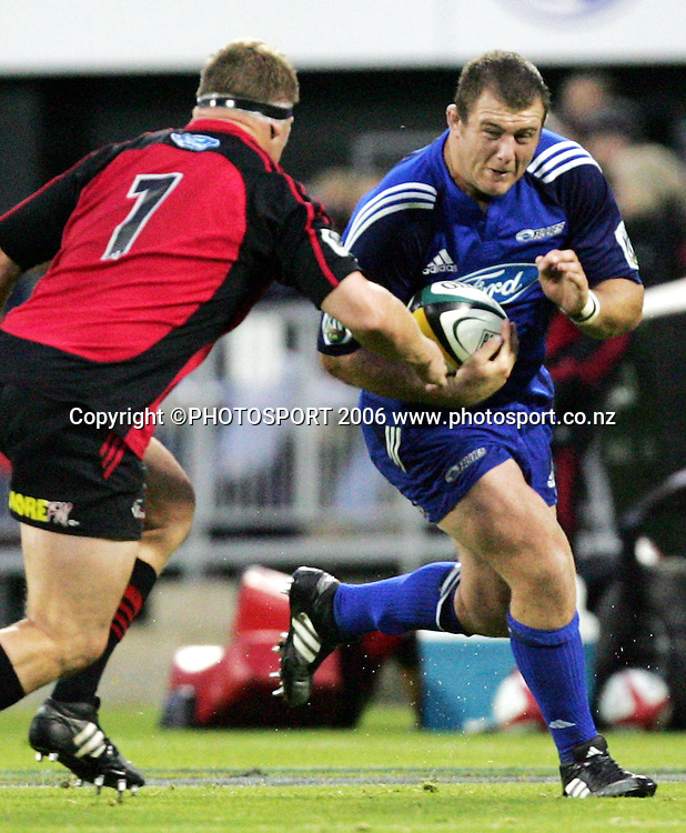 Blues prop Tony Woodcock makes a break during the Rebel Sport Super 14 game between the Crusaders and the Blues at Jade Stadium, Christchurch, New Zealand on Saturday 4 March 2006. The Crusaders won the match 39-10. Photo: Tim Hales/PHOTOSPORT<br />