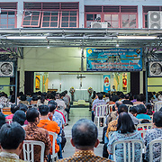 During the celebration of the Sunday Holy Mass at Santa Clara church in Bekasi, West Java, Indonesia