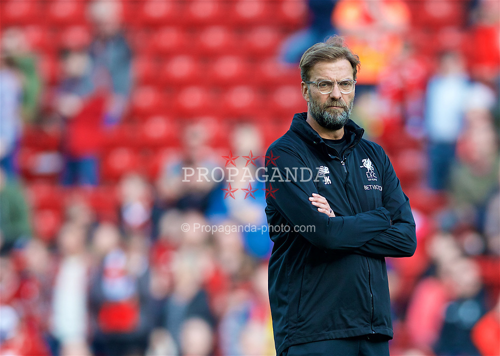 LIVERPOOL, ENGLAND - Saturday, April 14, 2018: Liverpool's manager Jürgen Klopp during the pre-match warm-up before the FA Premier League match between Liverpool FC and AFC Bournemouth at Anfield. (Pic by Laura Malkin/Propaganda)