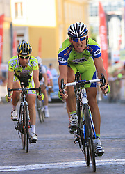 Giovanni Visconti (ITA) of ISD - NERI and Maciej Bodnar   (POL) of Liquigas  at 1st stage of Tour de Slovenie 2009 from Koper (SLO) to Villach (AUT),  229 km, on June 18 2009, in Koper, Slovenia. (Photo by Vid Ponikvar / Sportida)