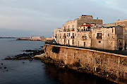 General view of Lungomare d'Ortigia, Syracuse, Sicily,  with Castello Maniace in the distance, pictured on September 14, 2009, in the afternoon from the Forte Vigliena in Ortigia. The island Ortigia is the historic centre of Syracuse. Today the city is a UNESCO World Heritage Site. Picture by Manuel Cohen.