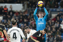 December 15, 2018 - Madrid, Spain - Thibaut Courtois and Sergio Ramos of Real Madrid during La Liga match between Real Madrid and Rayo Vallecano at Santiago Bernabeu Stadium in Madrid, Spain. December 15, 2018. (Credit Image: © Coolmedia/NurPhoto via ZUMA Press)