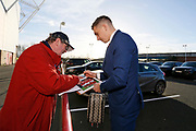 Middlesbrough forward Jordan Hugill (11)  signing autographs during the EFL Sky Bet Championship match between Middlesbrough and Ipswich Town at the Riverside Stadium, Middlesbrough, England on 29 December 2018.