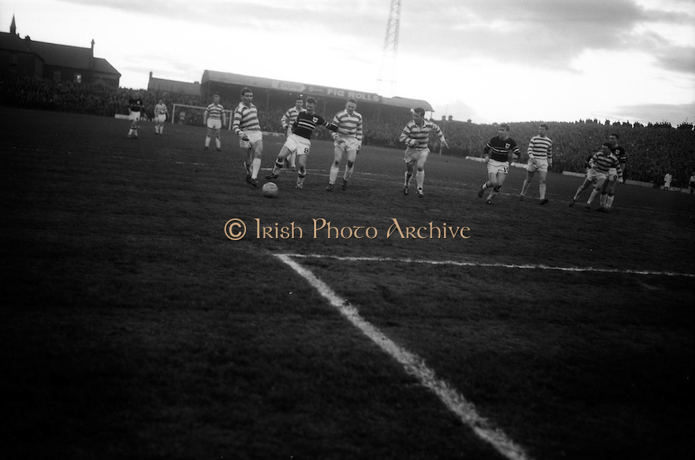 29/04/1964<br /> 04/29/1964<br /> 29 April 1964 <br /> F.A.I. Cup Final replay- Shamrock Rovers v Cork Celtic at Dalymount Park, Dublin. Rovers won the game 2-1. Celtics Noonan is well policed by Rovers players Johnny Fulham and Ronnie Nolan.