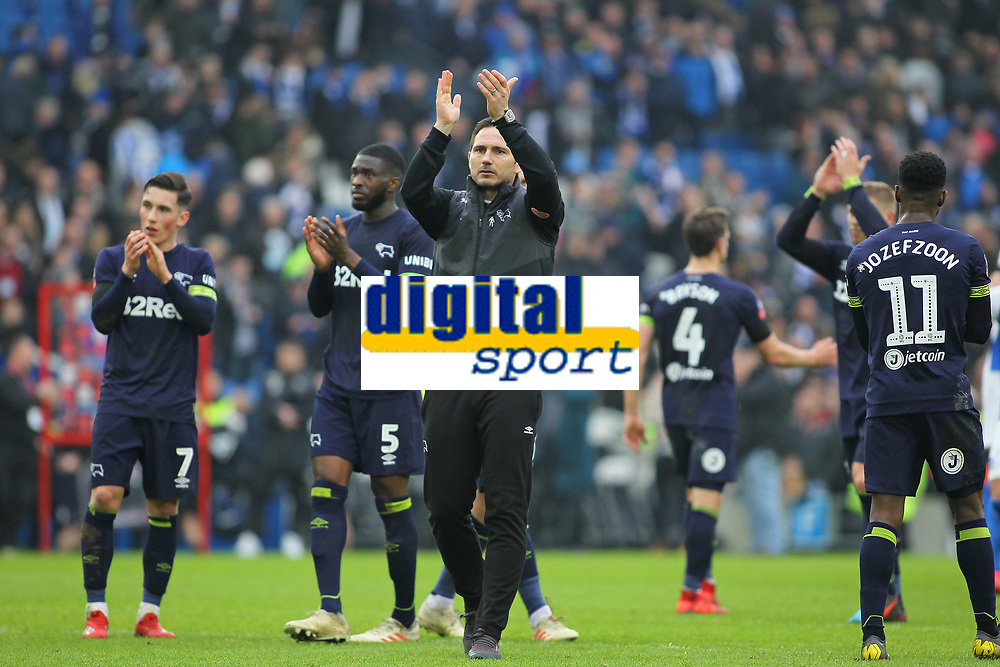 Football - 2018 / 2019 Emirates FA Cup - Fifth Round: Brighton and Hove Albion vs. Derby County<br /> <br /> Derby County Manager Frank Lampard applauds the traveling fans after the FA Cup tie at The Amex Stadium Brighton <br /> <br /> COLORSPORT/SHAUN BOGGUST