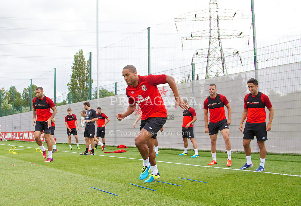 NEWPORT, WALES - Monday, August 12, 2013: Wales' captain Ashley Williams during training at the FAW National Development Centre at Dragon Park ahead of the International friendly against the Republic of Ireland. (Pic by David Rawcliffe/Propaganda)